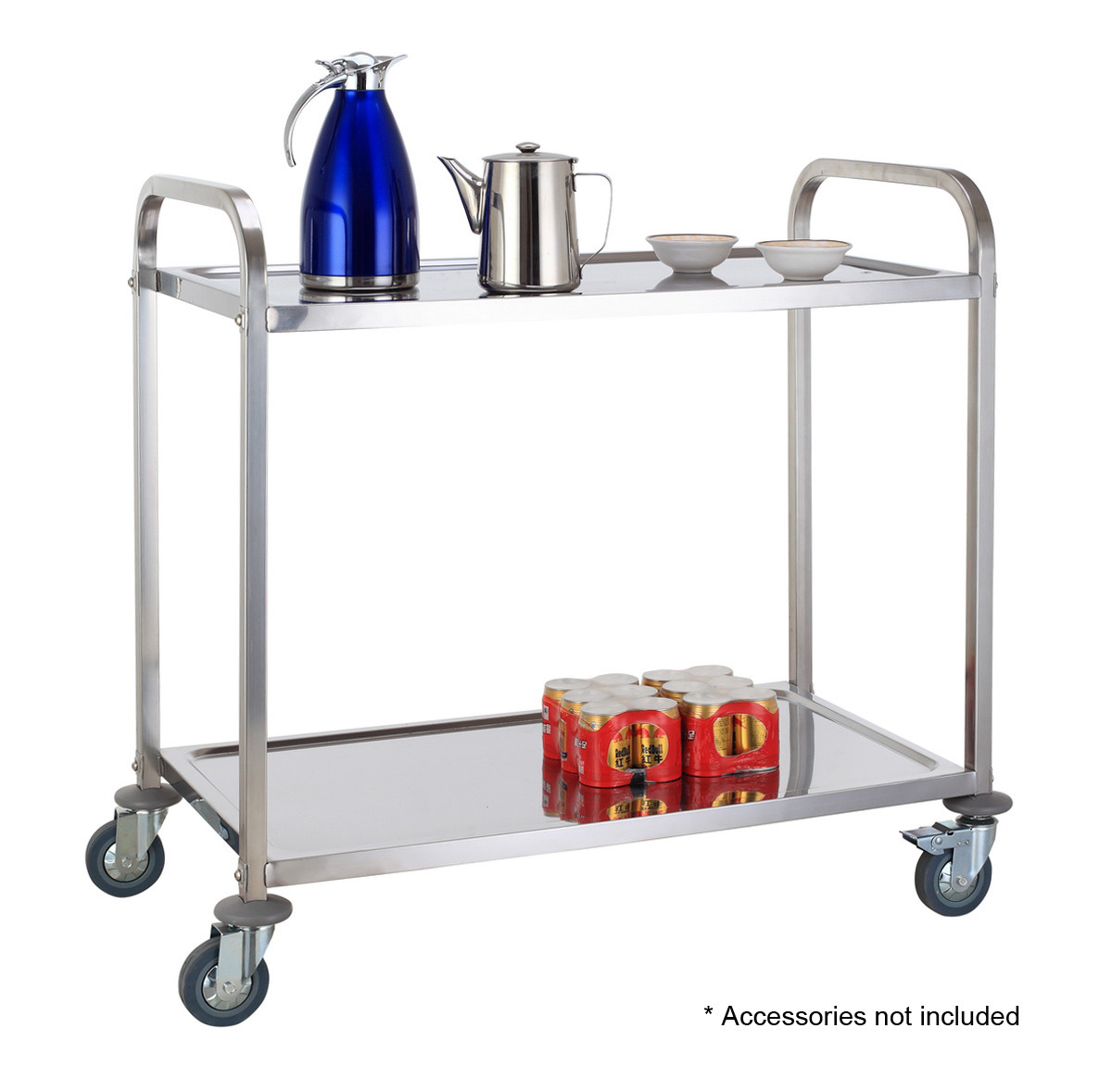 2 TIER STAINLESS STEEL KITCHEN DINING TROLLEY SERVING UTILITY CART