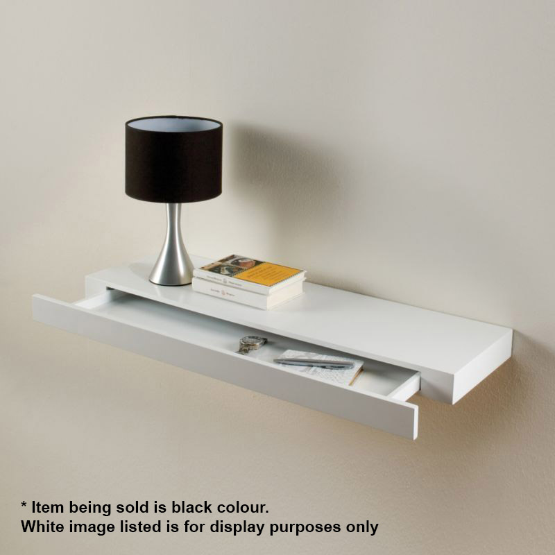 Floating drawer shelf concealed storage black gloss - Table console murale ...