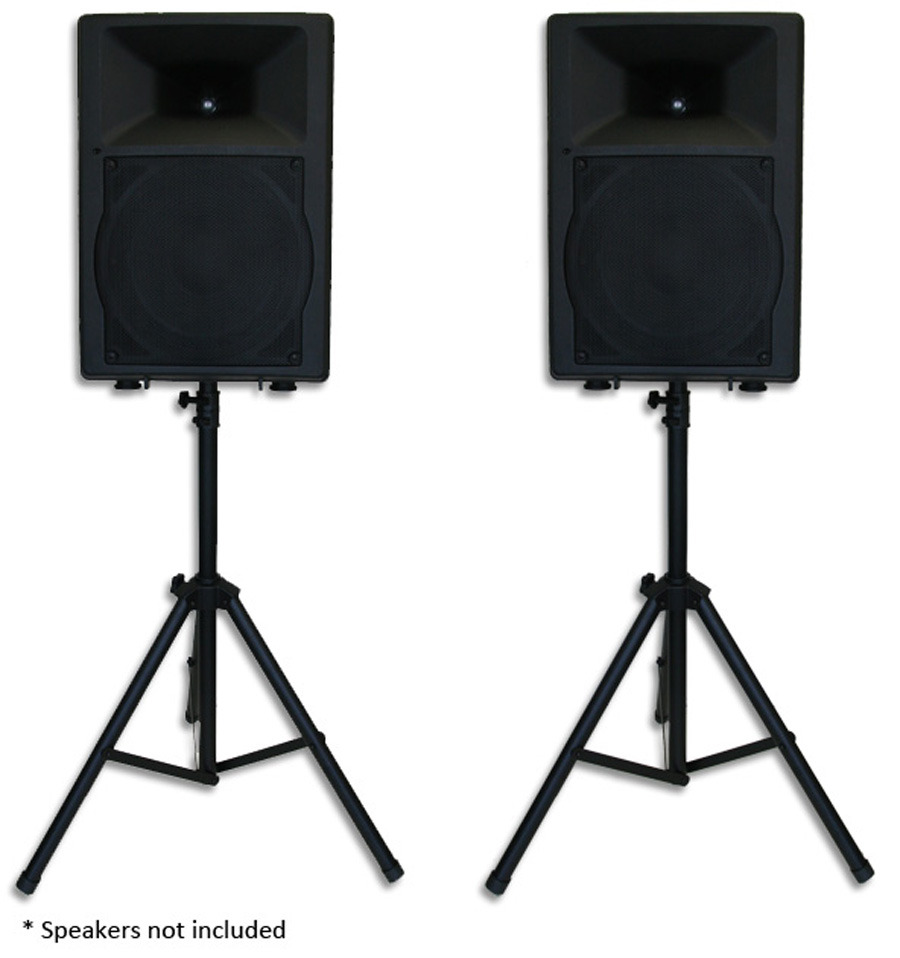 pair heavy duty pa speaker stands tripod stage sound ebay. Black Bedroom Furniture Sets. Home Design Ideas