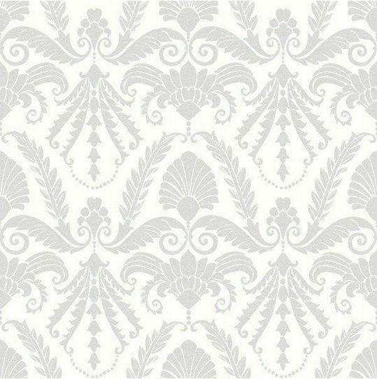 Vintage Grey Modern Flocking Damask Design Pattern Print ...